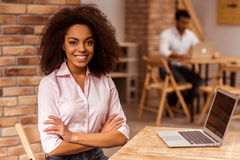 Beautiful Afro-American woman working Royalty Free Stock Image