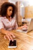 Beautiful Afro-American woman working Stock Image