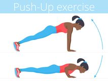 The beautiful afro-american young woman is doing the push-up exe. Beautiful young woman in sportswear is doing the push-up exercise. Flat illustration of afro Stock Photos