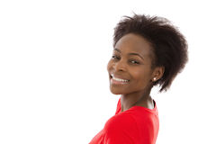 Beautiful afro american young woman in red isolated over white. Stock Photo