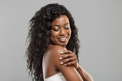 Beautiful Afro Girl Touching Her Soft Skin On Body Royalty Free Stock Image