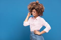 Beautiful Afro Lady Talking By Mobile Phone. Stock Photos