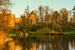Beautiful afternoon light in park with old castle ruins. Beautiful afternoon light in public park with green grass and old castle ruins reflecting in the pond Royalty Free Stock Image