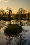 Beautiful afternoon light in public park. With green grass and pond. Shot in Cesis, Latvia Stock Photos