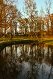 Beautiful afternoon light in public park. With green grass reflecting in pond. Shot in Cesis, Latvia Stock Photo