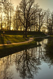 Beautiful afternoon light in public park. With green grass and trees reflecting in pond and lonely bench. Shot in Cesis, Latvia Royalty Free Stock Photo