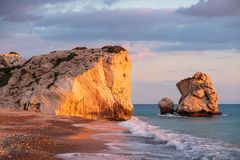 Beautiful afternoon view of the beach around Petra tou Romiou, also known as Aphrodite`s birthplace, in Paphos, Cyprus. Beautiful afternoon view of the beach royalty free stock images