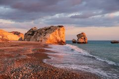 Beautiful afternoon view of the beach around Petra tou Romiou, also known as Aphrodite`s birthplace, in Paphos, Cyprus royalty free stock photos