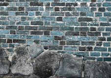 Beautiful aged and weathered blue brick wall surfaces in a close up view stock images