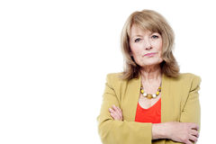 Beautiful aged woman in trendy wear Stock Photography