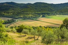 Beautiful agriculture landscape at the outback of Istria, Croatia. Beautiful agriculture landscape scenery with mountains, hills and farmland on a sunny summer stock photography