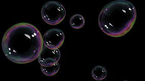 Beautiful Air Bubbles rising on black background. HD 1080