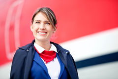 Beautiful air hostess Stock Images