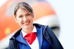 Beautiful air stewardess Stock Image