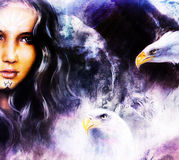Airbrush painting of an enchanting woman face with two flying eagles . Royalty Free Stock Image