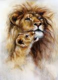 Beautiful illustration, airbrush painting of a loving lion  and her baby cub Royalty Free Stock Photography