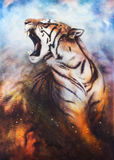 A beautiful airbrush painting of a roaring tiger on a abstract c Royalty Free Stock Image