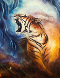 Beautiful airbrush painting of a roaring tiger on a abstract cos. A beautiful airbrush painting of a roaring tiger on a abstract cosmical background vector illustration