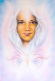 Beautiful airbrush painting of a young girls angelic face with. A beautiful airbrush painting of a young girls angelic face with radiant white hair and a Royalty Free Stock Photos