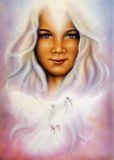 Beautiful airbrush painting of a young girls angelic face with. A beautiful airbrush painting of a young girls angelic face with radiant white hair and a shining Royalty Free Stock Image