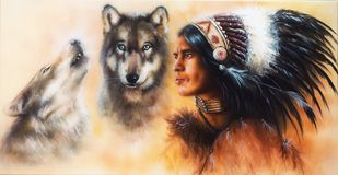 Beautiful airbrush painting of an young indian warrior accompani. A beautiful airbrush painting of an young indian warrior accompanied with two wolves Royalty Free Stock Photos