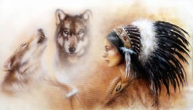 Beautiful painting of a young indian woman with wolves. A beautiful airbrush painting of a young indian woman wearing a gorgeous feather headdress, with an image Stock Images