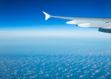 Beautiful airplane view above clouds Royalty Free Stock Photos