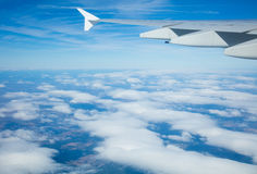 Beautiful airplane view above clouds Stock Image