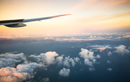 Beautiful airplane view above clouds Stock Photography
