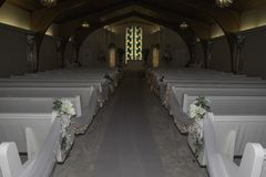 Beautiful Aisle of a Wedding Chapel stock image
