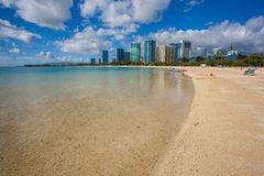 Beautiful Ala Moana Beach Park Oahu Hawaii. Ala Moana Beach Park is a playground that just about offers something for everyone, including a half mile beach strip stock photo