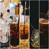 Alcohol Photo Collage. Beautiful alcohol collage made from four photos stock photo