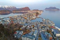 Beautiful Alesund town on the coastline stock photo