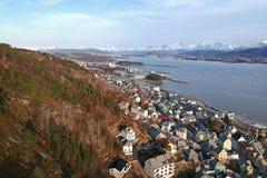 Beautiful Alesund town on the coastline stock image