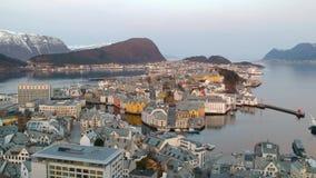 Beautiful Alesund town in Norway stock video