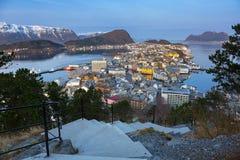 Beautiful Alesund town in Norway Stock Photos