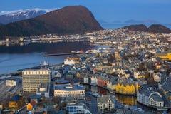 Beautiful Alesund town in Norway Stock Image