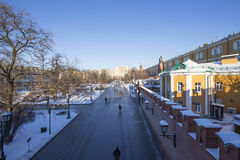 Beautiful Alexander Garden near the ancient Kremlin winter,  Moscow, Russia Royalty Free Stock Image