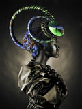 Beautiful alien lady. Portrait of a beautiful alien lady with an unusual hairstyle Stock Photos