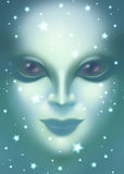 Beautiful alien woman face close up Stock Photography