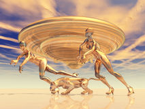 Beautiful Aliens. Computer generated 3D illustration with Alien Spaceship and perfect Beauties Royalty Free Stock Image