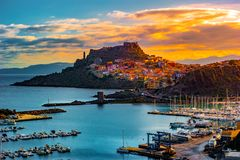 Beautiful alley of castelsardo old city - sardinia - italy. Colorful photo of gorgeous italian town royalty free stock photography