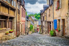 Beautiful alley in an old town in Europe royalty free stock images
