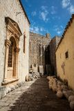 Beautiful alleys at the walled old town of Dubrovnik stock photography