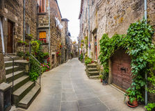 Beautiful alleyway in the historic town of Vitorchiano, Lazio, Italy stock images