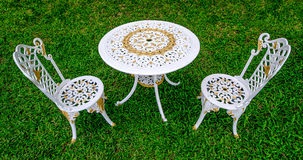 Beautiful alloy chairs and table Royalty Free Stock Photography