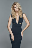 Beautiful alluring blond woman in a black dress Stock Photos
