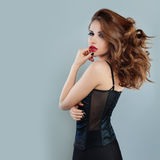 Beautiful Alluring Woman with Blowing Hair. Fashion Model Stock Image