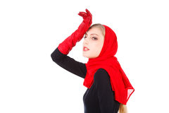Beautiful alluring young girl in red gloves Royalty Free Stock Photos