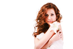 Beautiful  alluring young girl in white Stock Photography
